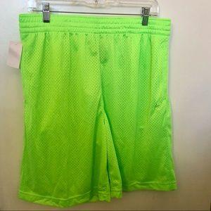 NWT men's neon green workout basket ball shorts L